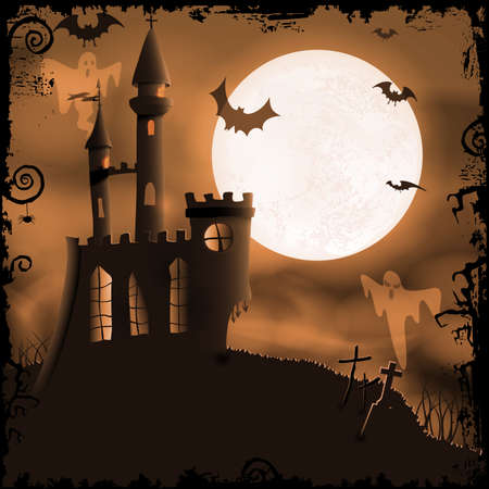 Halloween background with haunted castle, bats, ghosts, full moon and 