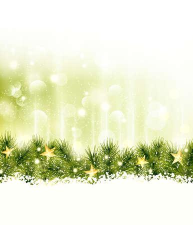 shining light: Estrellas de oro en una frontera de ramas de abeto en un fondo verde de oro suave con las luces borrosas, efectos de luz y la nieve