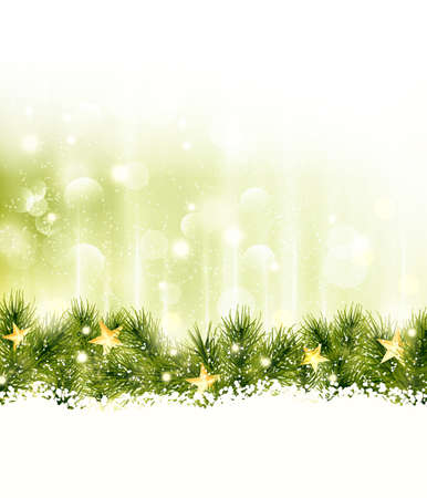 Golden stars in a border of fir twigs on a soft golden green background with blurry lights, light effects and snow Vector