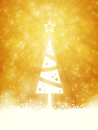ray of light: Christmas tree made of white stars on golden light ray background with sparkling lights  Illustration