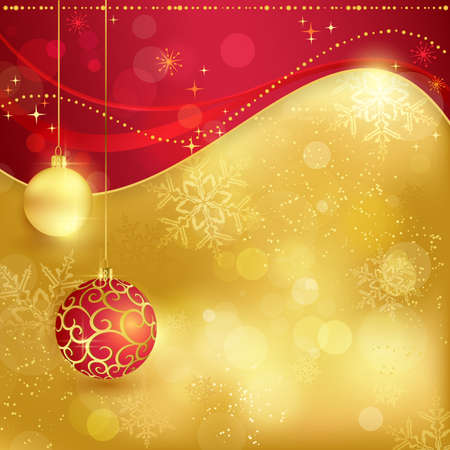 hanging out: Festive traditional red golden Christmas background with hanging baubles, blurry lights, stars and snowflakes for the magical season to come