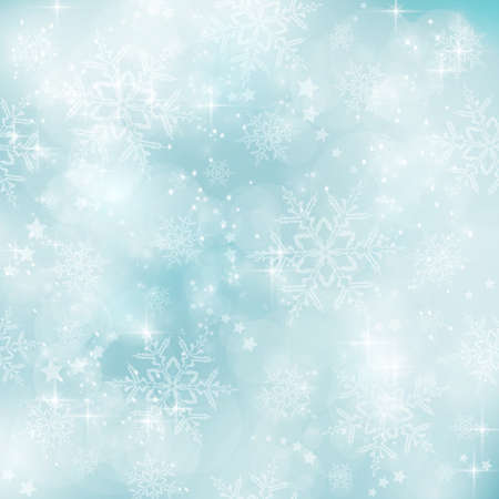 Abstract soft blurry background with bokeh lights, snow flakes and stars. Vector