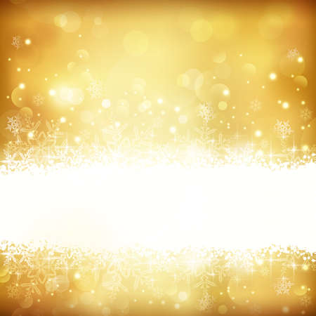 Festive gold background with out of focus light dots, stars,snowflakes and copy space. Stock Illustratie