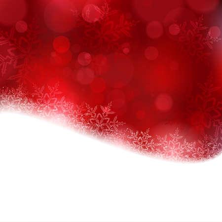 effetti di luce: Effetti di luce lucido con luci sfocate e scintillanti fiocchi di neve nei toni del rosso e un contorno ondulato. Vettoriali