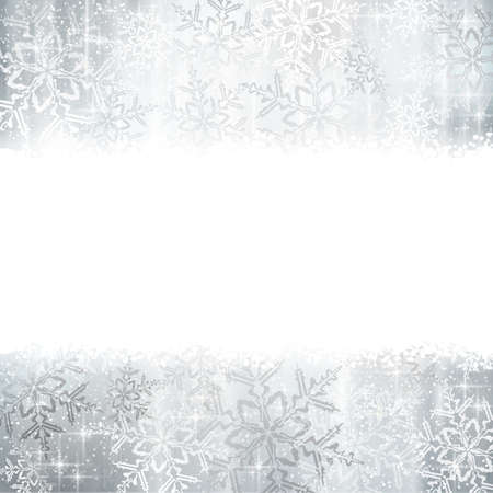 Silver and white snowflakes on a Christmas, winter card with copy space