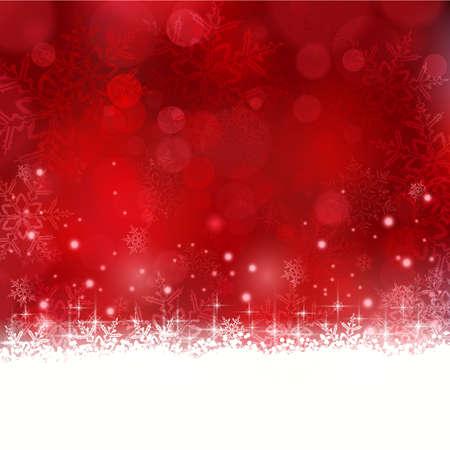 Glanzende lichteffecten met onscherpe lichten en glinsterende sneeuwvlokken in de kleuren rood en een golvende contour. Stock Illustratie