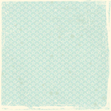 Pale green, blue grunge background, stained and scratched with seamless star pattern. Vector