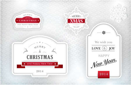 Set of Merry Christmas and Happy New Year labels and snowflakes in elegant shades of gray, silver, white and red on textured silver background with light effects.