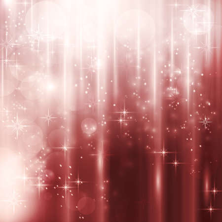 Abstract Christmas, winter background with light effects, stars and blurry  light dots in shades of red. Illustration