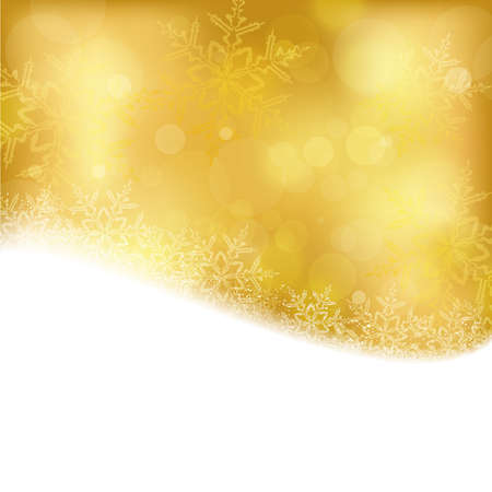 Shiny light effects with blurry lights and glittering snowflakes in shades of gold and a wavy contour.  Vector