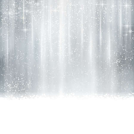 Abstract silver Christmas, winter background with light effects, stars,   snowfall and space for your text. Vector
