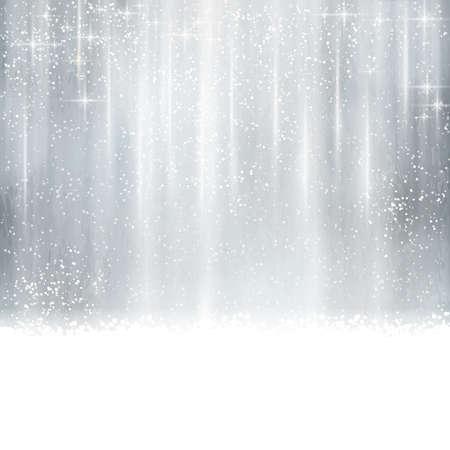 effets lumiere: R�sum� argent No�l, fond en hiver avec des effets de lumi�re, des �toiles, des chutes de neige et d'espace pour votre texte.
