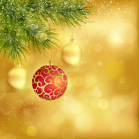 Festive traditional golden Christmas background with hanging baubles, blurry lights and fir twigs for the magical season to come.  Vector