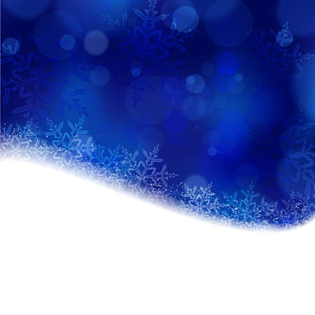Shiny light effects with blurry lights and glittering snowflakes in shades of blue and a wavy contour.