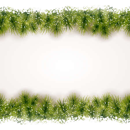 Christmas background with fir border at the top and bottom that will tile seamless horizontally. Vector