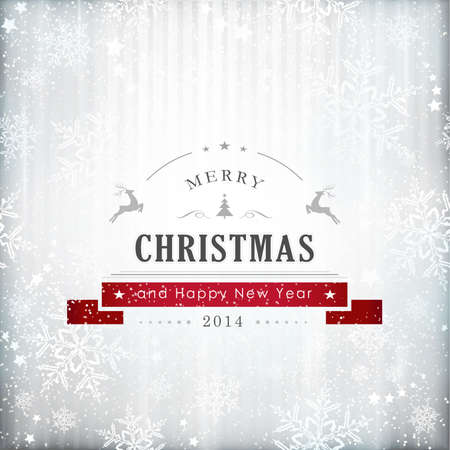 Abstract silver background with textured snowflake pattern and the writing Merry Christmas and a Happy New Year 2014.