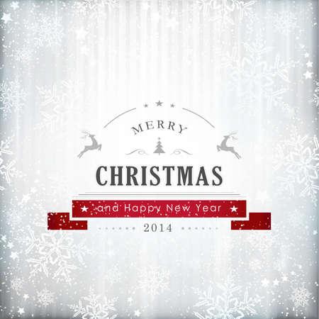 """nieuwjaar: Abstracte zilveren achtergrond met textuur sneeuwvlok patroon en het schrijven """"Prettige Kerstdagen en een Gelukkig Nieuwjaar 2014""""."""
