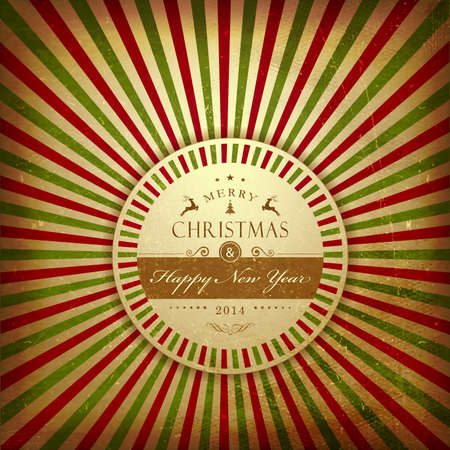 Aged vintage Christmas parchment with light rays in red and green and round label with Merry Christmas and Happy New Year label. Stock Vector - 24196249