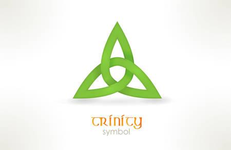 Interwoven línea formando una forma de tres picos llamado nudo de la trinidad. Ilustración de vector