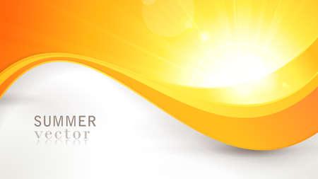 웅장한 벡터 태양 여름 배경 렌즈 플레어 밝은 오렌지 및 노란색 색의 물결 선 패턴 버스트.