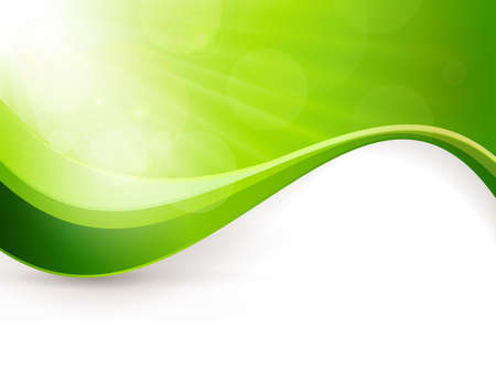 Green background with light burst, lens flare effects and a wave pattern  Great backdrop for any spring season theme  Copy space  Stock Illustratie