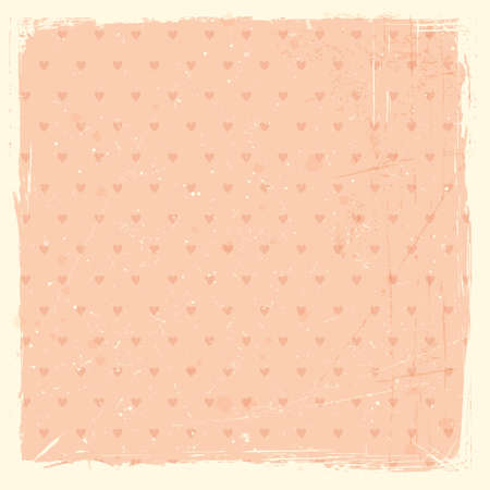 Pale red, rose grunge background, textured with stains and scratches and with heart pattern  Vector