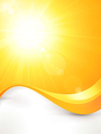 Summer background with a magnificent vector sun burst with lens flare and wavy lines pattern in bright orange and yellow colors  Vector