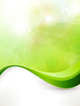 흐릿한 조명, 빛의 효과, 태양 버스트와 웨이브 패턴 좋은 봄 또는 텍스트를위한 녹색 환경 배경 공간과 빛 녹색 벡터 일러스트