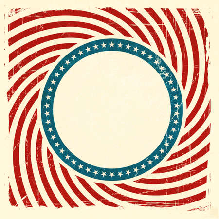 Vintage style aged USA themed grunge design with spiraling red and off white rays and center label with a blue ring of off white stars background and space for your text. Vector