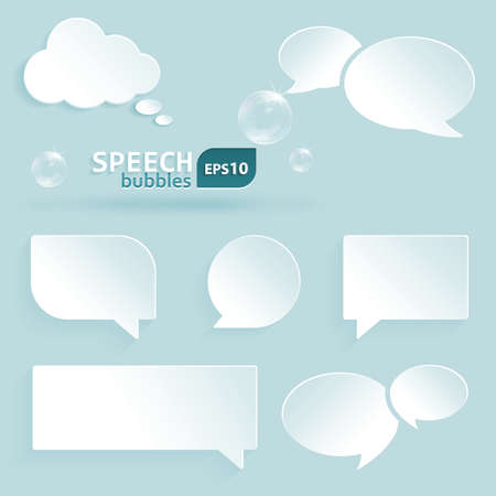 Set of various differently shaped speech, communication bubbles with space for your text.  Vector
