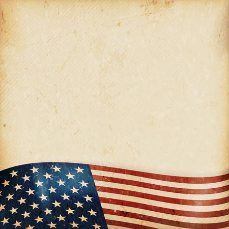 distressed: Vintage style grunge background with USA flag at the bottom. Grunge Elements and a faintly striped beige brown background give it a feeling resembling old paper, parchment.