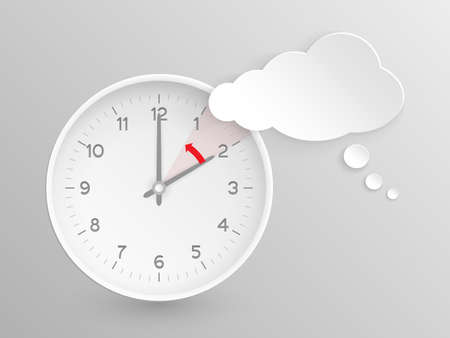 Cloud shaped speech bubble and vector clock with hands at 2 oclock and an red arrow  symbolizing the hour backward to 1 oclock for the change of time in autumn, fall in  America on silver background.