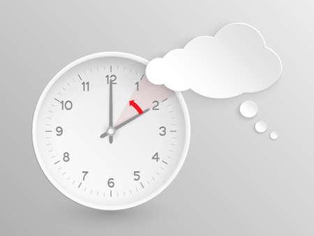 ahorros: Nube en forma de burbuja de diálogo y el reloj de vectores con las manos a las 2 en punto y una flecha roja que simboliza la hora hacia atrás a una para que el cambio de tiempo en otoño, caen en los Estados Unidos sobre fondo de plata.
