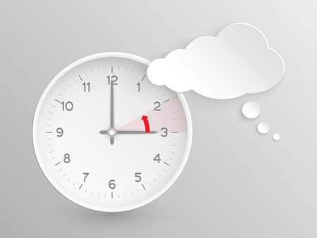 time keeping: Cloud shaped speech bubble and clock with hands at 3 oclock and an red arrow symbolizing the hour backward to 2 oclock for the change of time in autumn, fall in Europe on silver background.