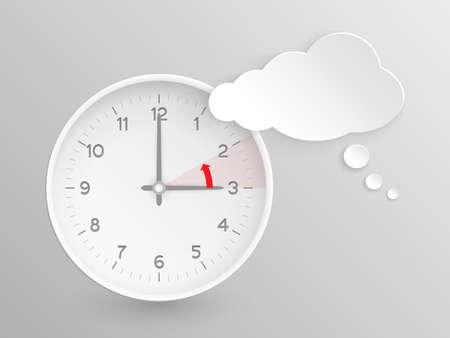 Nube en forma de burbuja de diálogo y el reloj con las manos a las 3 horas y una flecha roja que simboliza la hora atrás a dos para el cambio de hora en otoño, caen en Europa sobre fondo de plata.