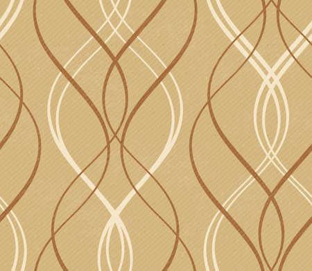 rayures vintage: Bandes courbes formant un motif de ligne d�corative sur un papier en d�tresse ou en carton comme fond avec des rayures diagonales faibles dans les tons de brun terreux et beige. Ce mod�le tuiles de fa�on transparente d'onde. Illustration