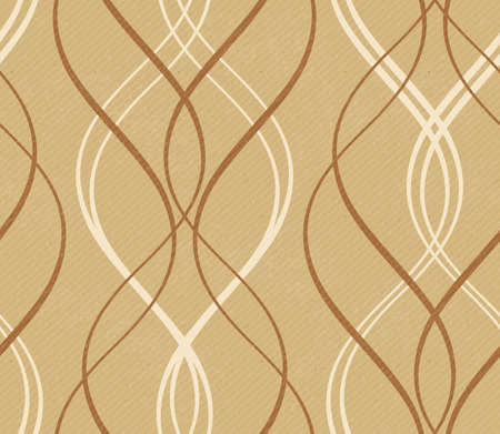 Curved stripes forming a decorative line pattern on a distressed paper or cardboard  like background with faint diagonal stripes in shades of earthy brown and beige.  This wave pattern tile seamlessly. Vector