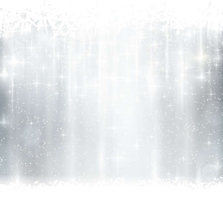 silver background: Abstract silver, white festive background with out of focus light dots, stars and snowflakes. Great for the festive season of Christmas or any winter design to come. Illustration
