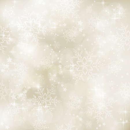 weihnachten gold: Abstrakte weichen unscharfen Hintergrund mit Bokeh-Lichter, Schneeflocken und Sterne in den Farben Gold-Beige. Die feierliche Gef�hl macht es eine gute Kulisse f�r viele Winter, Weihnachten Designs. Kopie Raum. Illustration