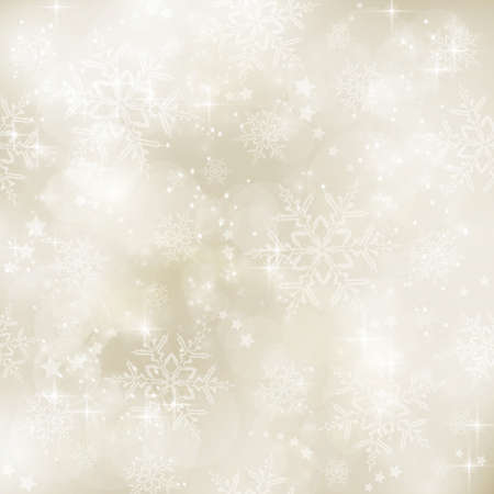 Abstract soft blurry background with bokeh lights, snow flakes and stars in shades of gold beige. The festive feeling makes it a great backdrop for many winter, Christmas designs. Copy space. Vectores
