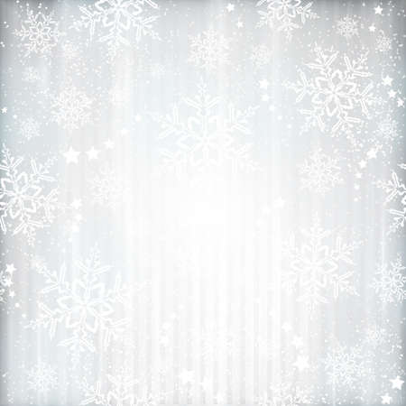 Abstract silver background with faintly visible vertical stripes, stars and snow flakes. Light effects and the silver color give it a festive feeling  for any festive Christmas, winter design. Stock Illustratie