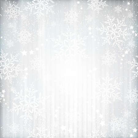 copo de nieve: Plata de fondo abstracto con las rayas verticales apenas visibles, estrellas y copos de nieve. Los efectos de luz y el color de plata dan una sensaci�n festiva para cualquier navidad, dise�o festivo invierno. Vectores