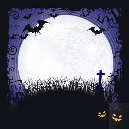 Distressed blue background with dark Halloween themed frame, scary tree  branches, creepy bats, a big full moon and two spooky looking pumpkins make it the  perfect Halloween backdrop. Vector