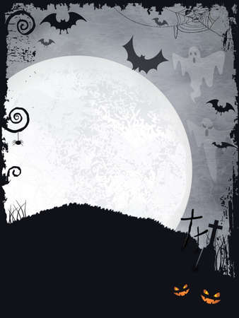 Full moon background with ghosts, bats, crosses, pumpkins and a big full moon. A creepy backdrop just perfect for any Halloween design. Vector