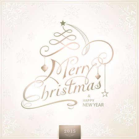 effetti di luce: Cartolina di Natale in desaturati beige marrone toni bianchi con effetti di luce. Buon Natale � raffigurato in un lettering calligrafico tipografia scritto a mano impreziosita con ornamenti vacanza.