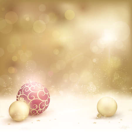 christmas ball: Christmas card in desaturated golden shades with light effects.