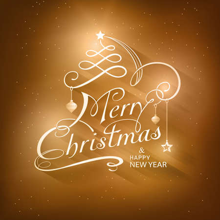 Kerstkaart in gouden bruin tinten met lichteffecten. Vrolijk kerstfeest is afgebeeld in een kalligrafische handgeschreven typografie letter opgesmukt met vakantie ornamenten.
