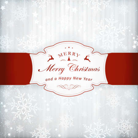Abstract silver background with faint vertical stripes, stars, snow flakes and a red label with Merry Christmas and embellishment. Light effects and the silver color give it a festive feeling.