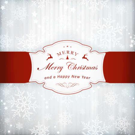 effetti di luce: Astratto sfondo argento con strisce verticali deboli, stelle, fiocchi di neve e un'etichetta rossa con Buon Natale e abbellimento. Effetti di luce e il colore d'argento che danno una sensazione di festa.