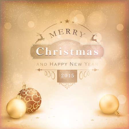 effetti di luce: Classico sfondo vintage Natale con palline e l'etichetta. Toni desaturati di beige dorato e bianco con effetti di vignettatura e di luce che danno una sensazione di invecchiato e retr�.